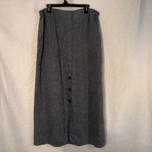 FLAX Large Skirt Blue Linen Long 41 Inch 1352